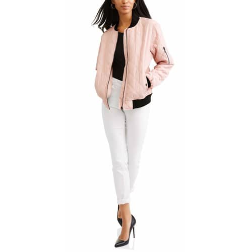 Women's Quilted Bomber Jacket  $9 at Walmart