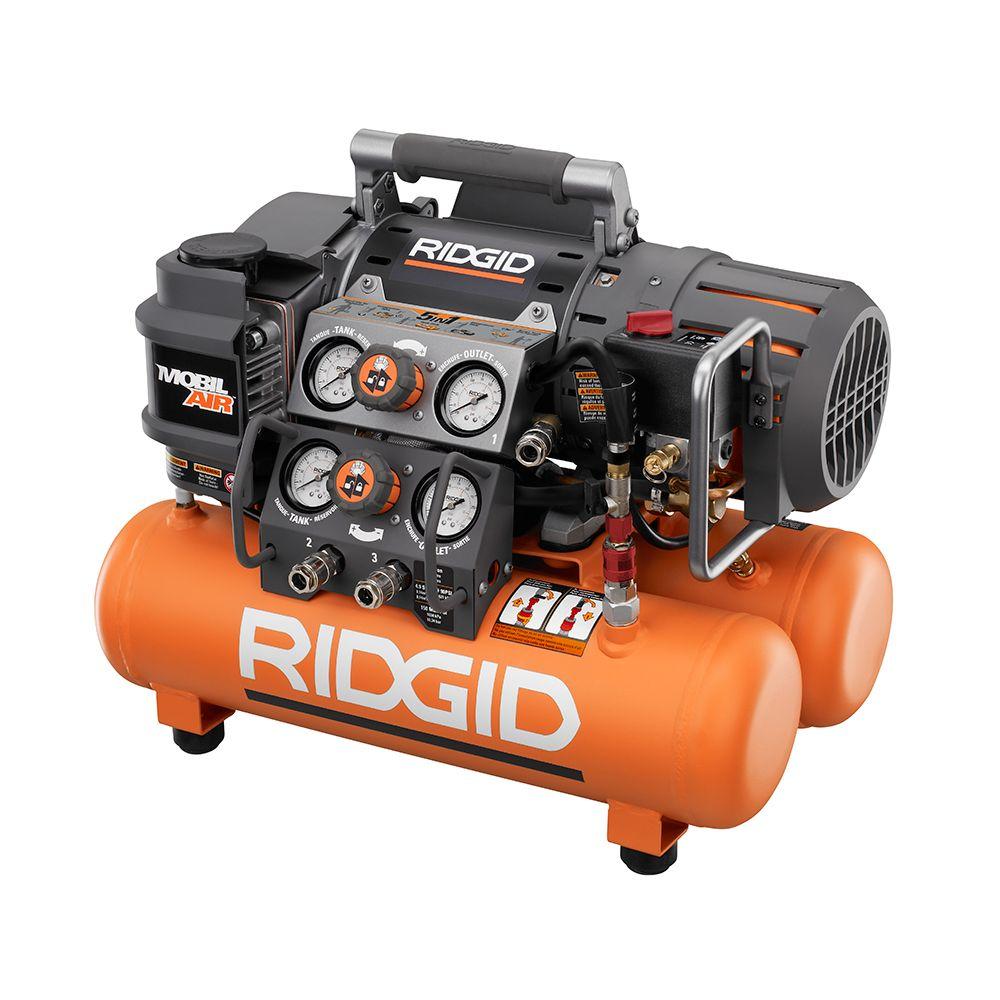 RIDGID 14.5 Amp Electric 5 gallon Portable Tri-Stack Air Compressor ($150, Free Shipping)
