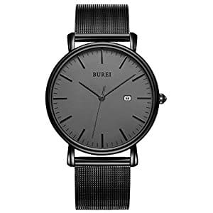 BUREI Men's Fashion Minimalist Wrist Watches Analog Deep Gray Date with Black Milanese Mesh Band for $17 w/code + free prime shipping