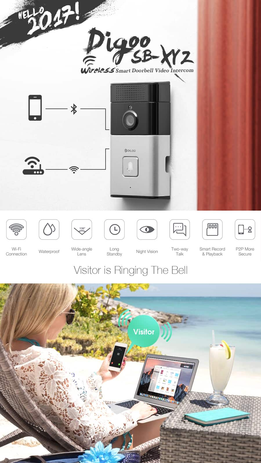 Wireless Bluetooth and WIFI Smart Home HD Video DoorBell for $50.82 w/code + free shipping