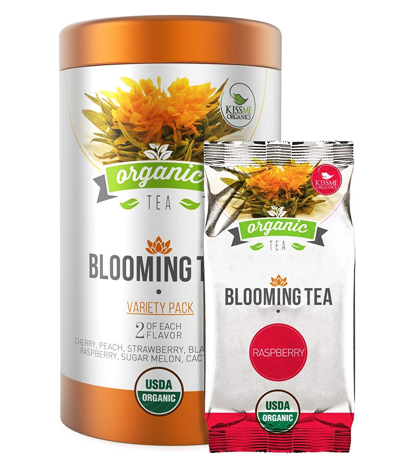 Kiss Me Organics 14 Count Variety Flowering Tea for $9.20 w/code  + free prime shipping