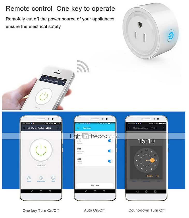 Smart Remote Control WiFi Plug Socket for $8.49 + free US shipping