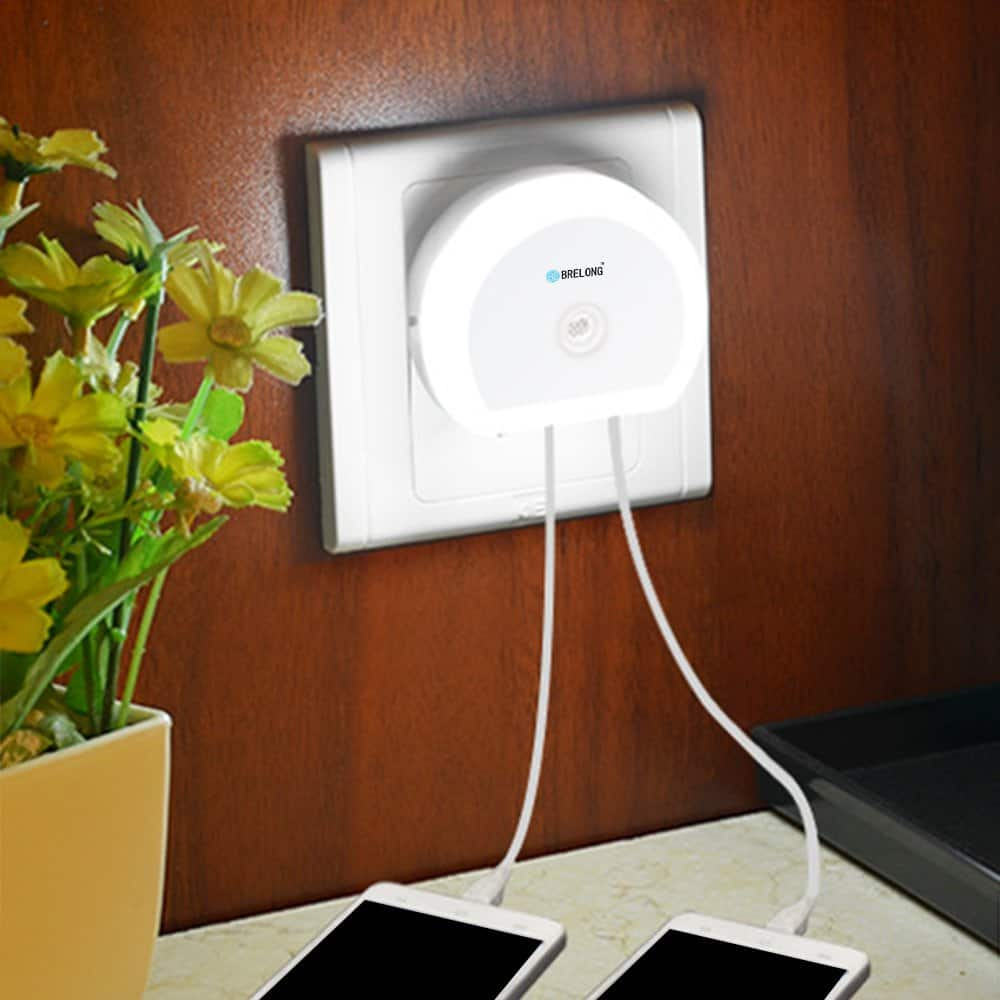 Brelong Creative Light Switch + Sensor Led Night Light with Dual USB for $1.50 w/code + free shipping