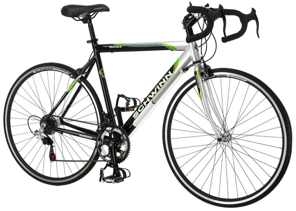 700c Schwinn Men Axios Drop Bar Road Bicycle, Silver/Black/Green, 21.5Inch Frame - $150