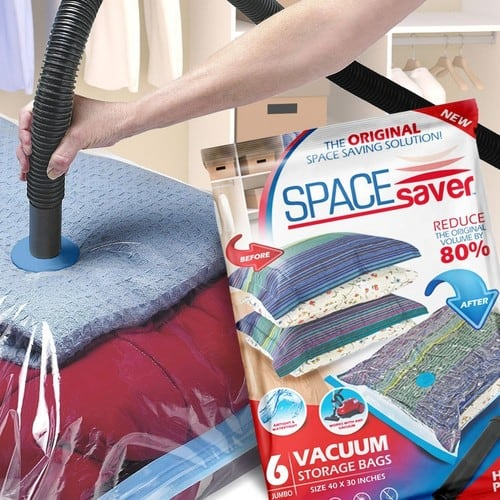 SpaceSaver Premium JUMBO Vacuum Storage Bags (Works With Any Vacuum Cleaner + FREE Hand-Pump for Travel!)  (6 Pack) $13.69
