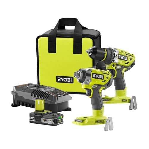 Ryobi 18-Volt ONE+ Cordless Lithium-Ion Brushless Hammer Drill and Impact Driver 2- Tool Combo Kit - Overstock $114.50