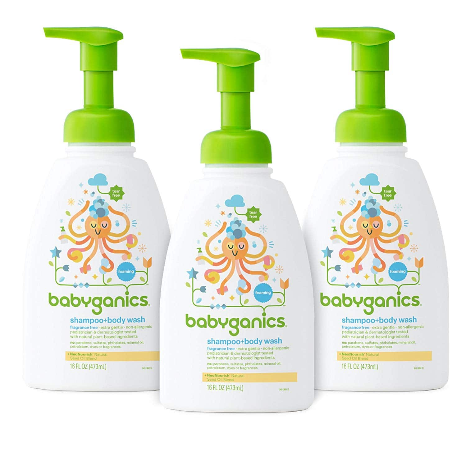 Babyganics Baby Shampoo and Body Wash, Fragrance Free, 3 Pack [Standard Packaging, Fragrance Free] $15.2