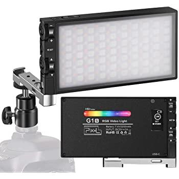 Pixel G1s RGB Video Light, Built-in Rechargeable Battery LED Camera Light, Full Color 12 Common Light Effects, CRI≥97 2500-8500K Aluminum Alloy$45.5