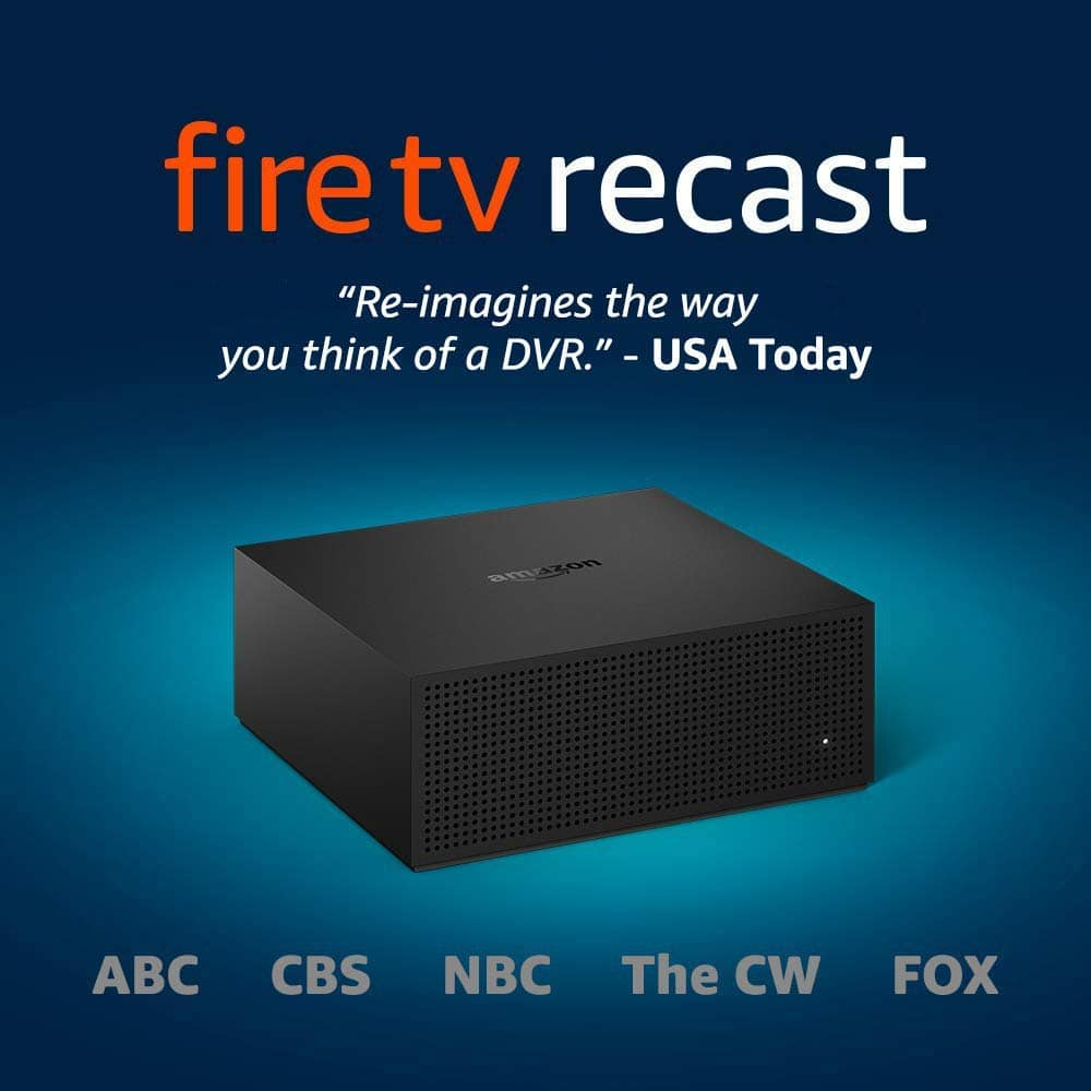 Fire TV Recast, over-the-air DVR, 1 TB, 150 hours, DVR for cord cutters [4 tuners, 1 TB, 150 hours] - $195