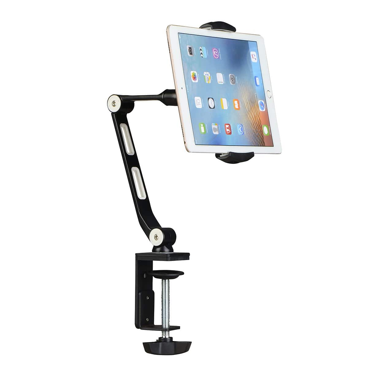 Suptek Aluminum Alloy Cell Phone Desk Mount Stand 360° Tablet Stand and Holders Adjustable for iPad, iPhone, Samsung, Asus and More 4.7-11 inch Devices, Good for Bed, Kit - $19.99