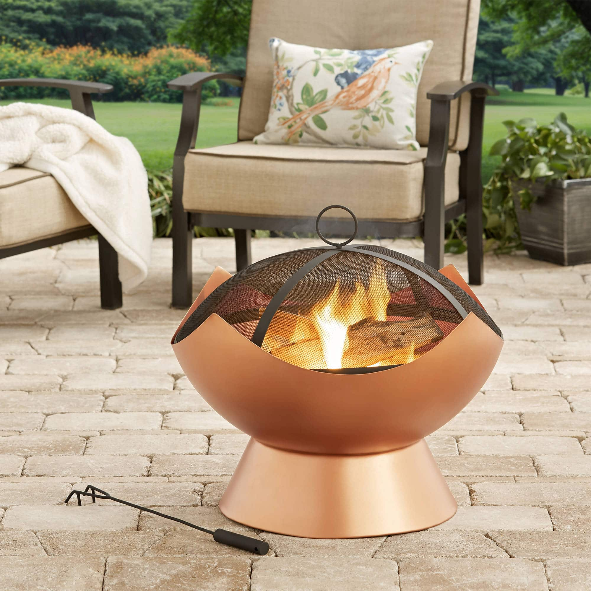"Walmart 26"" Modern Copper Finish Wood-Burning Firebowl $38.43 FREE SHIPPING"