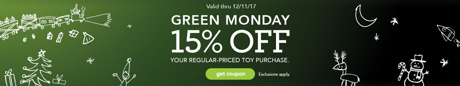 ToysRUs 15% off Regular Priced Toy Purchase with their Green Monday Coupon valid 12/10-12/12