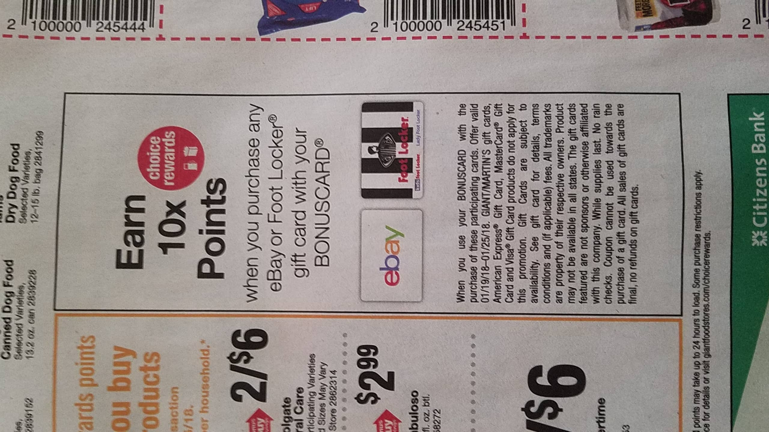 Ebay GC 10x points at Giant Food Store and Stop and Shop YMMV please read
