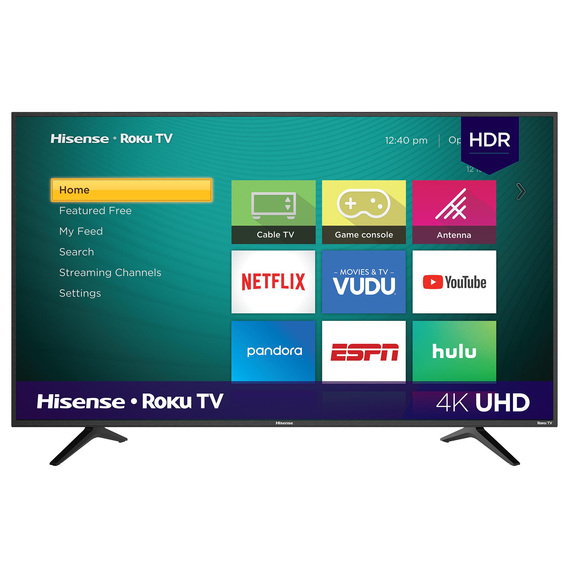 "Hisense 58"" Class 4K Ultra HD (2160P) HDR Roku Smart LED TV (58R6E) Walmart $278"