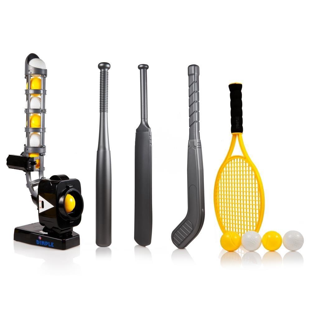 Power Pro Kids 4 In 1 Multi-Function Pitching Machine, Plus Baseball Bat, Tennis Racket, Hockey Stick, Cricket Bat, 12 Balls, Best Training Sports Toy for $25.65