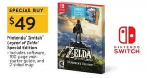 Black Friday Sale-Walmart: The Legend of Zelda: Breath of the Wild Explorer's Edition $49
