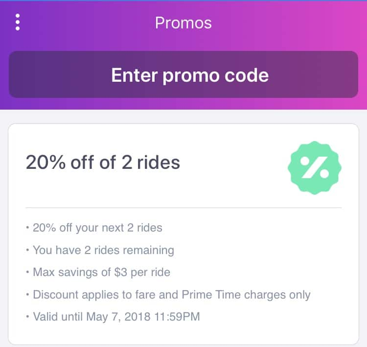 Lyft: Coupon for 20% Off of Two Rides (Max $3 Discount per Ride) (Does not appear region specific.)