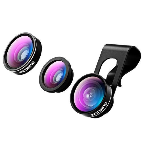 VicTsing 3 in 1 Fisheye Camera Lens, Macro Lens, 0.65X Wide Angle Lens - Amazon $7.99