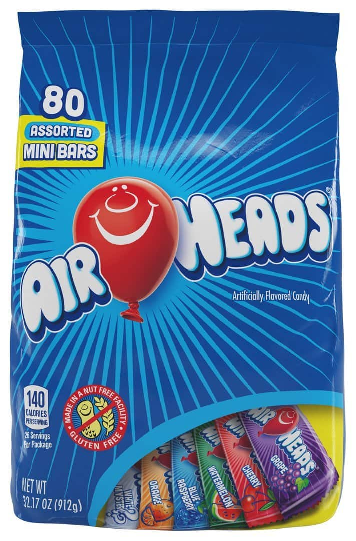 Airheads (Pack of 4 ) Airhead Mini Bars Variety Pack, huge 32.17oz/ 80ct bars, as low as $18.68 or $4.67/bag with coupon and S&S