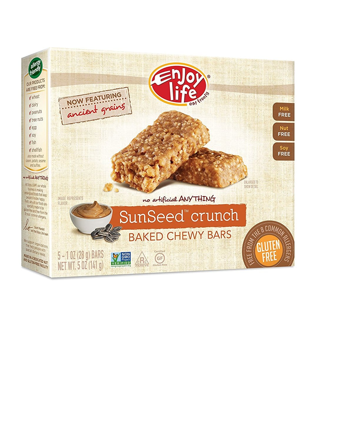 Enjoy Life Baked Chewy Bars, Gluten-Free, Non-GMO, Dairy-Free, Nut-Free + Soy-Free, 5 Count Bar/5.75 Ounce Box (Pack of 6) as low as $9.78 w/coupon & SS