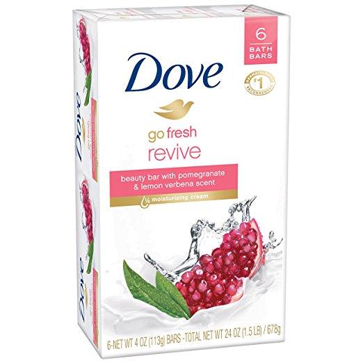 Dove go fresh Beauty Bar, Pomegranate and Lemon Verbena 4 oz, 6 Bars, $3.33 or less w/sub and save