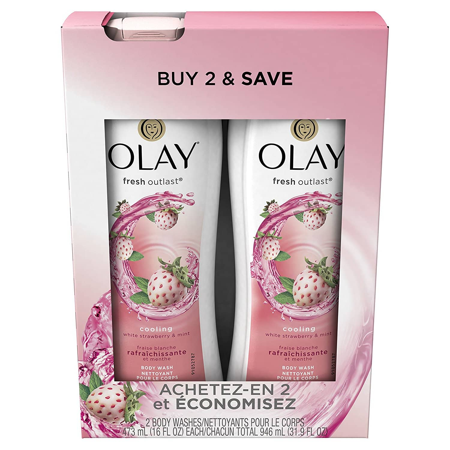 Add-on: Olay Fresh Outlast Cooling White Strawberry & Mint Body Wash, 16 Fl Oz, 2 Count, $4 AC