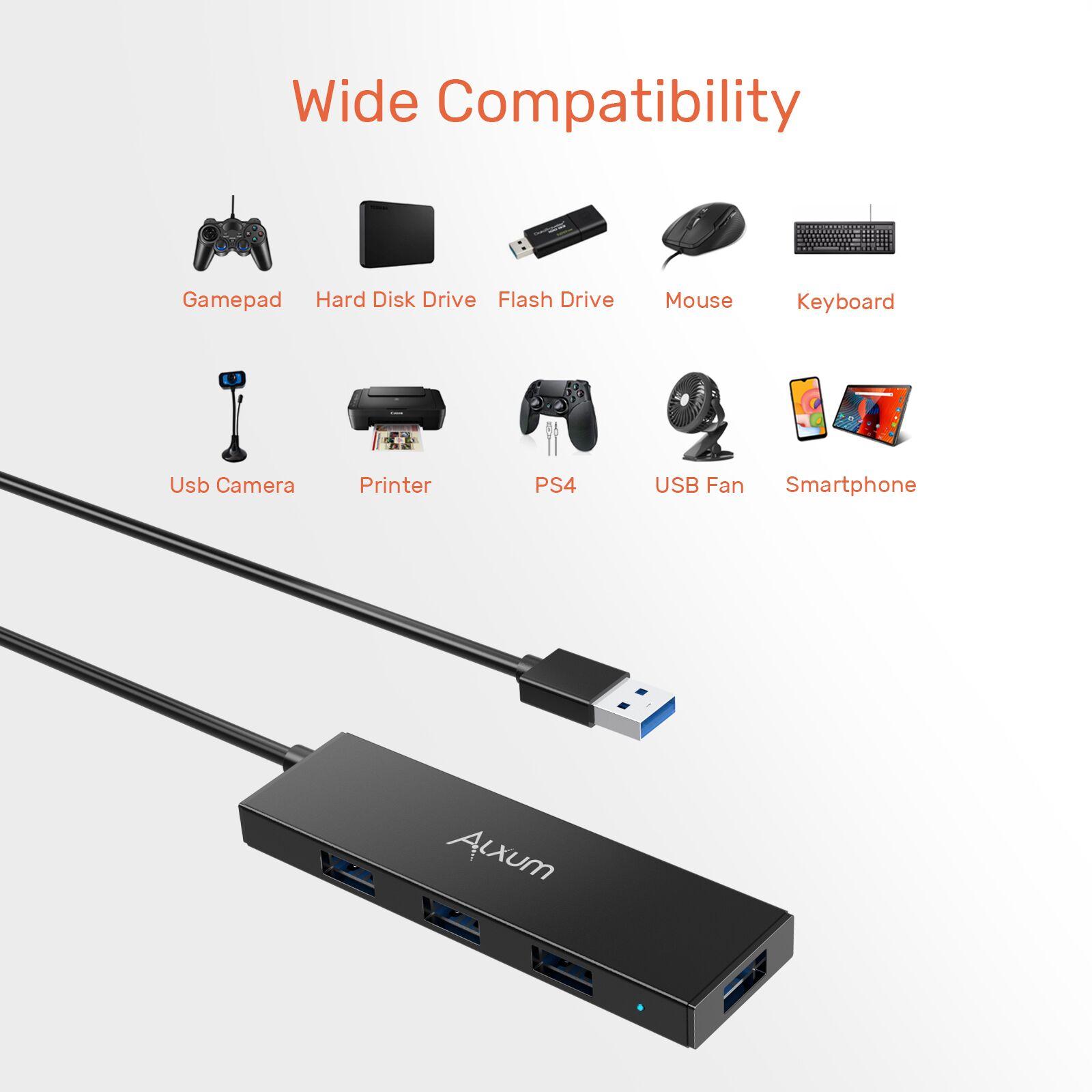 $8.77 Alxum USB 3.0 Extension Hub 4-Port, USB Hub Long Cord 4ft with MicroB Power Port, USB Data Hub for Desktop PC, MacBook, Mac Mini, iMac Pro, microsoft - $8.77