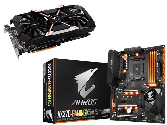 GIGABYTE AORUS XTREME GeForce GTX 1060 6G REV 2.0, GV-N1060AORUS-X6GDR2, GIGABYTE GA-AX370-Gaming K5 (rev. 1.0) AM4 AMD X370 SATA 6Gb/s USB 3.1 HDMI ATX AMD Motherboard $494.98