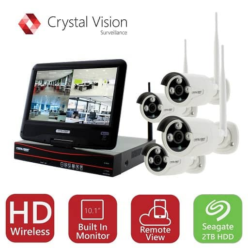 Crystal Vision CVT9604E-3010W 4CH 2TB HD Wireless CCTV 4-Autopair Cameras Built-In Monitor for $347.09 w/ 11% Rebate (Expires in 9/23/17) + Free SH @Menards