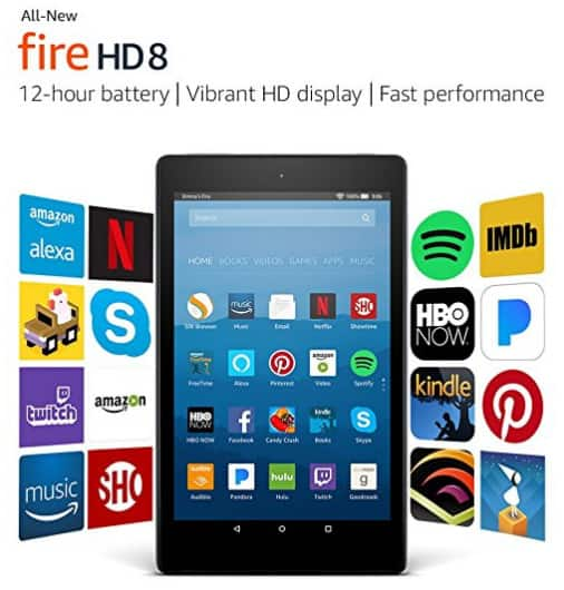 "Fire HD 8 Tablet with Alexa, 8"" HD Display, 16 GB, Black $49.99"