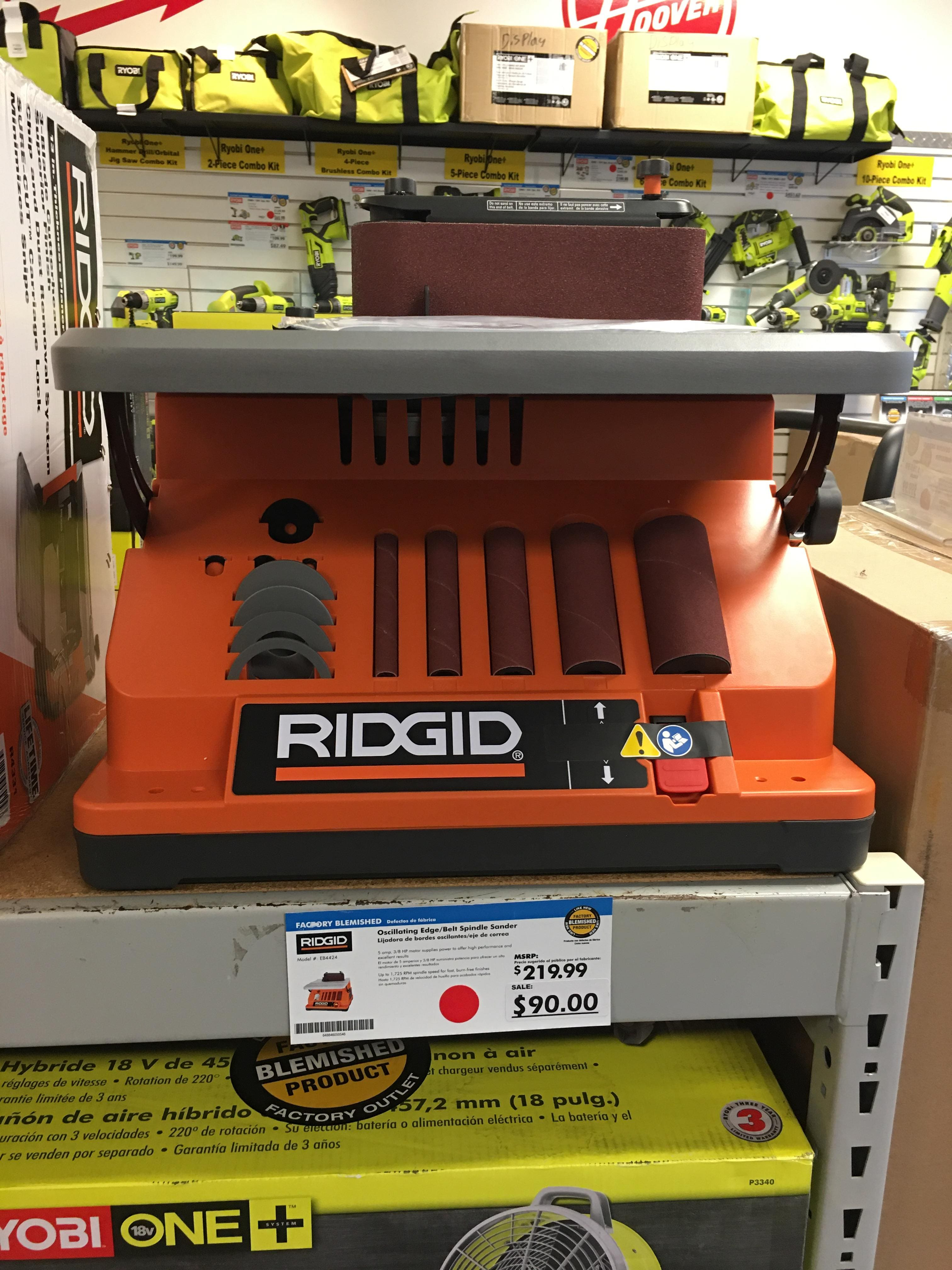 Ridgid Oscillating Edge/Belt Spindle Sander (Factory Blemished) $90 at Direct Tools Outlet In-Store YMMV