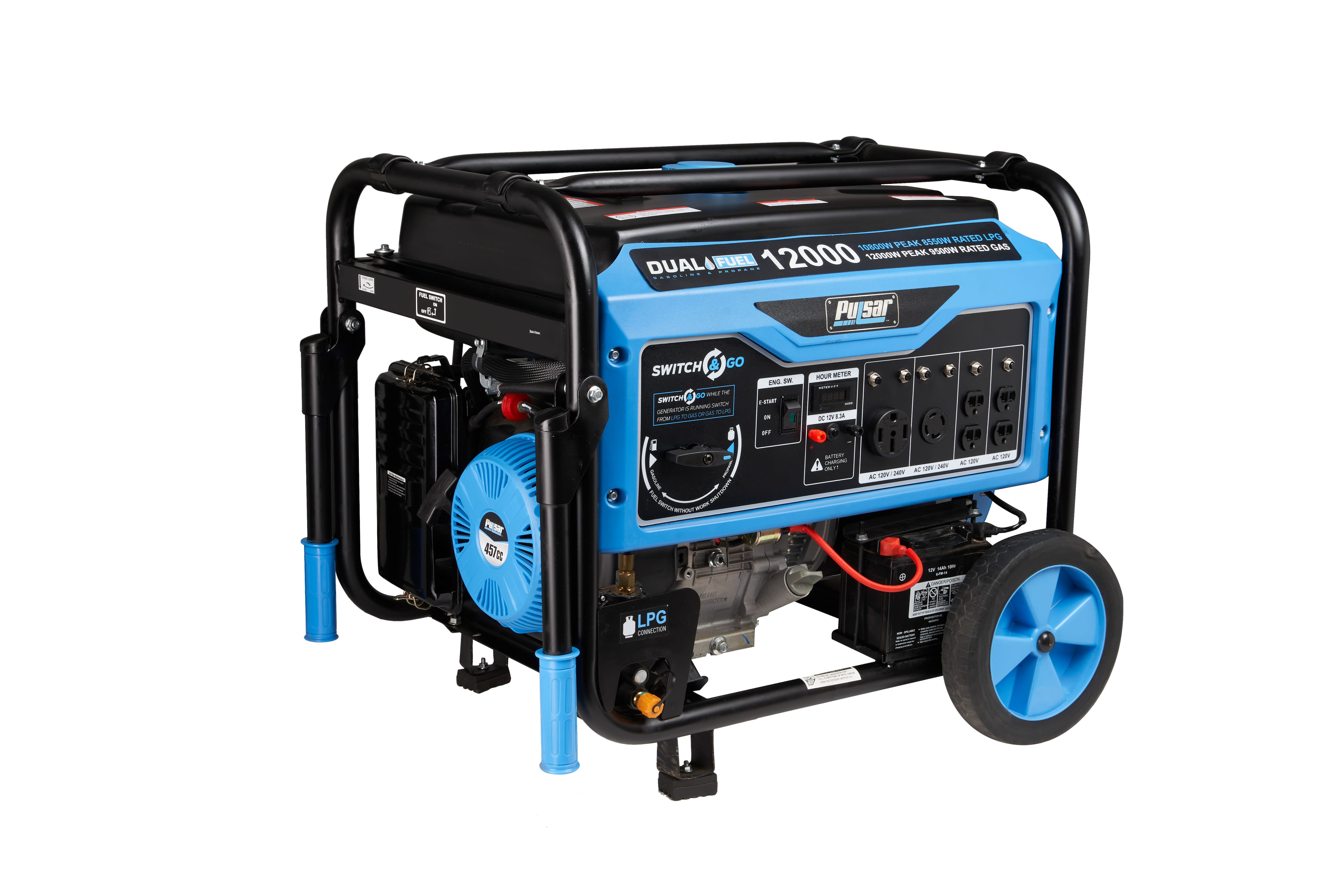 Pulsar's PG12000B - 12000W/9500W Dual Fuel Portable 457cc Generator with Electric Start and Switch & Go, CARB approved - $891.89 with FREE Shipping