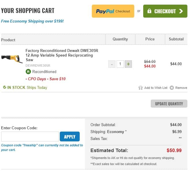 DeWALT Reciprocating Saw DWE305 R(econditioned) 12A Variable Speed $44 +tax/shipping
