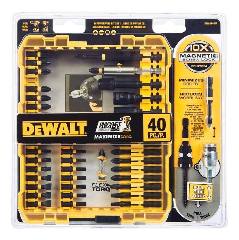 Dewalt 40 piece impact ready screwdriving set 100 yard tape measure