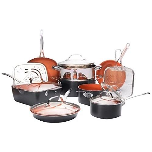 Gotham Steel Ultimate 15 Piece All in One Chef's Kitchen Set with Non-Stick Ti-Cerama Copper Coating $109.99