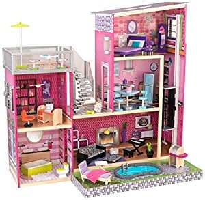 KidKraft Girl's Uptown Dollhouse with Furniture $89.97