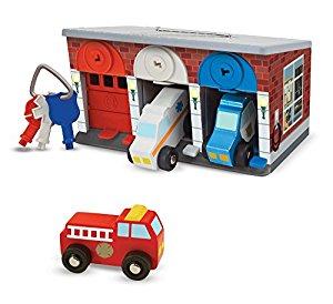 Melissa & Doug Keys & Cars Wooden Rescue Vehicle & Garage Toy (7 Piece) $17.99