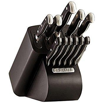 Sabatier Self-Sharpening Edgekeeper Pro 12-Piece Forged Triple Rivet Knife Block Set $44.99