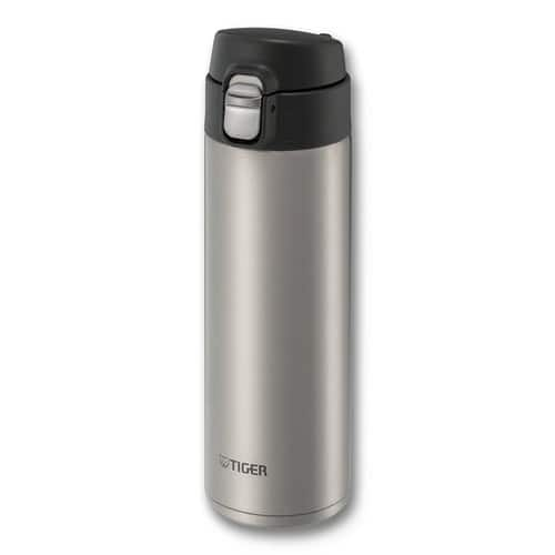 Tiger MMJ-A048 XC Vacuum Insulated Stainless Steel Travel Mug with Flip Open Lid, Double Wall, 16 Oz, Silver [Clear Stainless, 16-Ounce] $12.59