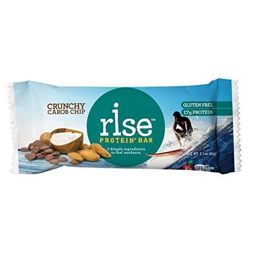 Rise Bar Gluten-Free, High-Protein Bars, Chocolatey Almond (Carob Chip Bar), 12-Count