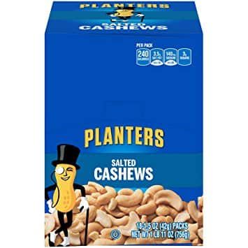 Planters Cashews, Salted, 1.5 Ounce Single Serve Bag (Pack of 18) $11