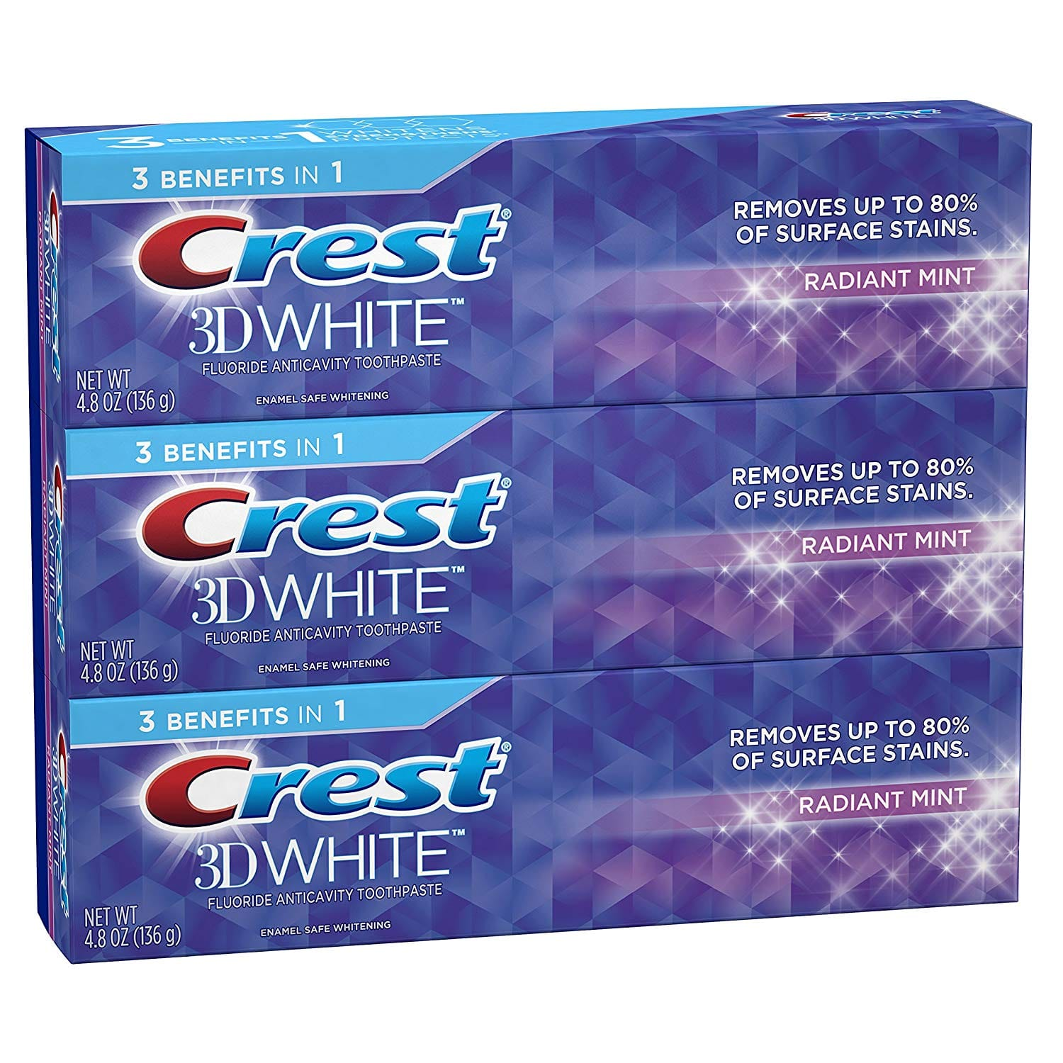 Crest 3D White Toothpaste Radiant Mint 4.8 oz (3 pack) $5.98