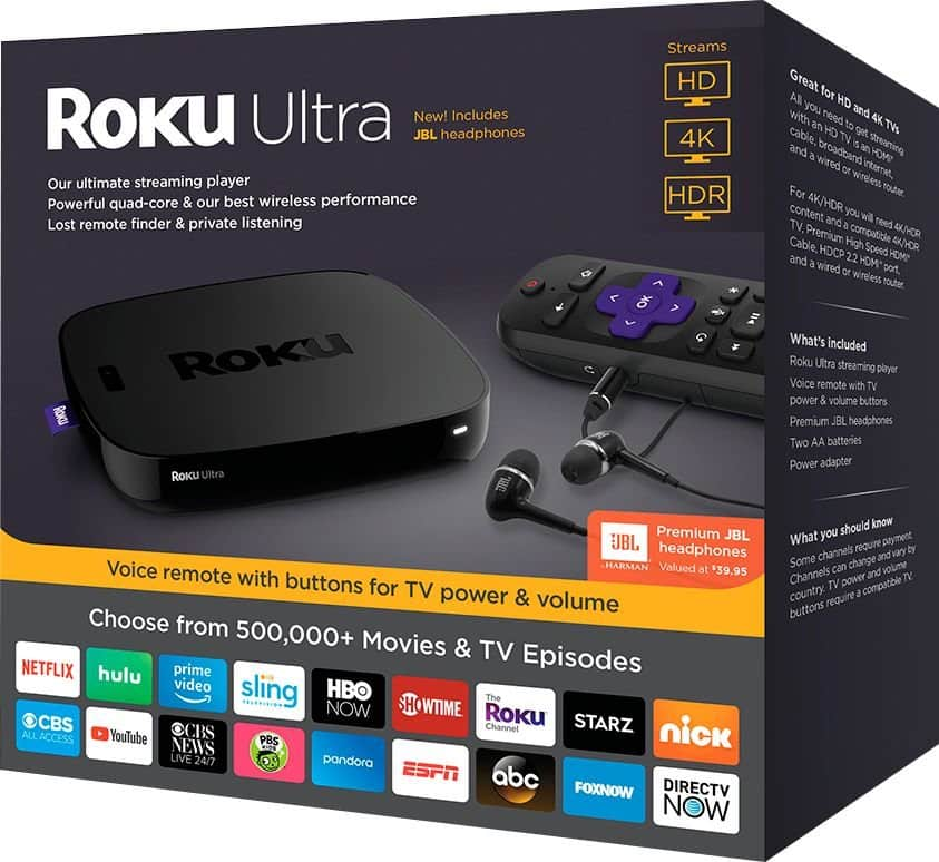 Roku Ultra 4K Streaming Media Player with JBL Headphones and Enhanced Voice Remote (New Google Express customer only) ) $63.99