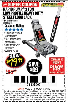 Harbor Freight 3 Ton Low Profile Steel Floor Jack 79 99