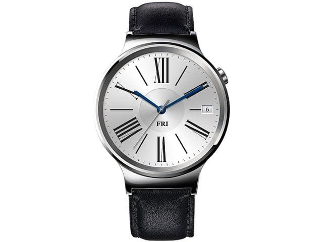250$ Huawei Smart Watch Stainless Steel with Black Suture Leather Strap..Free Huawei Watch band w/ purchase