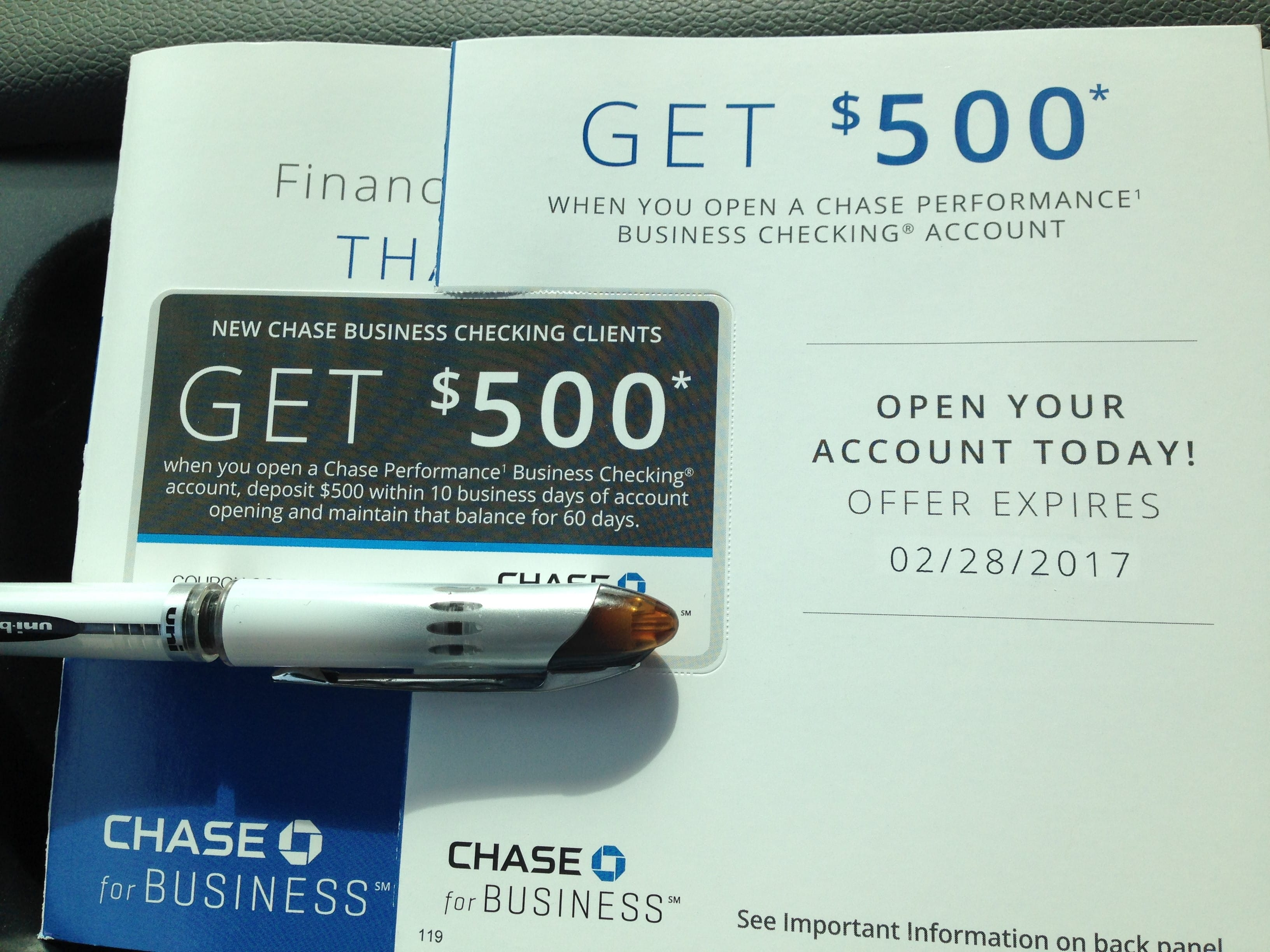 Chase Business checking $500 free when depositing of $500 ...