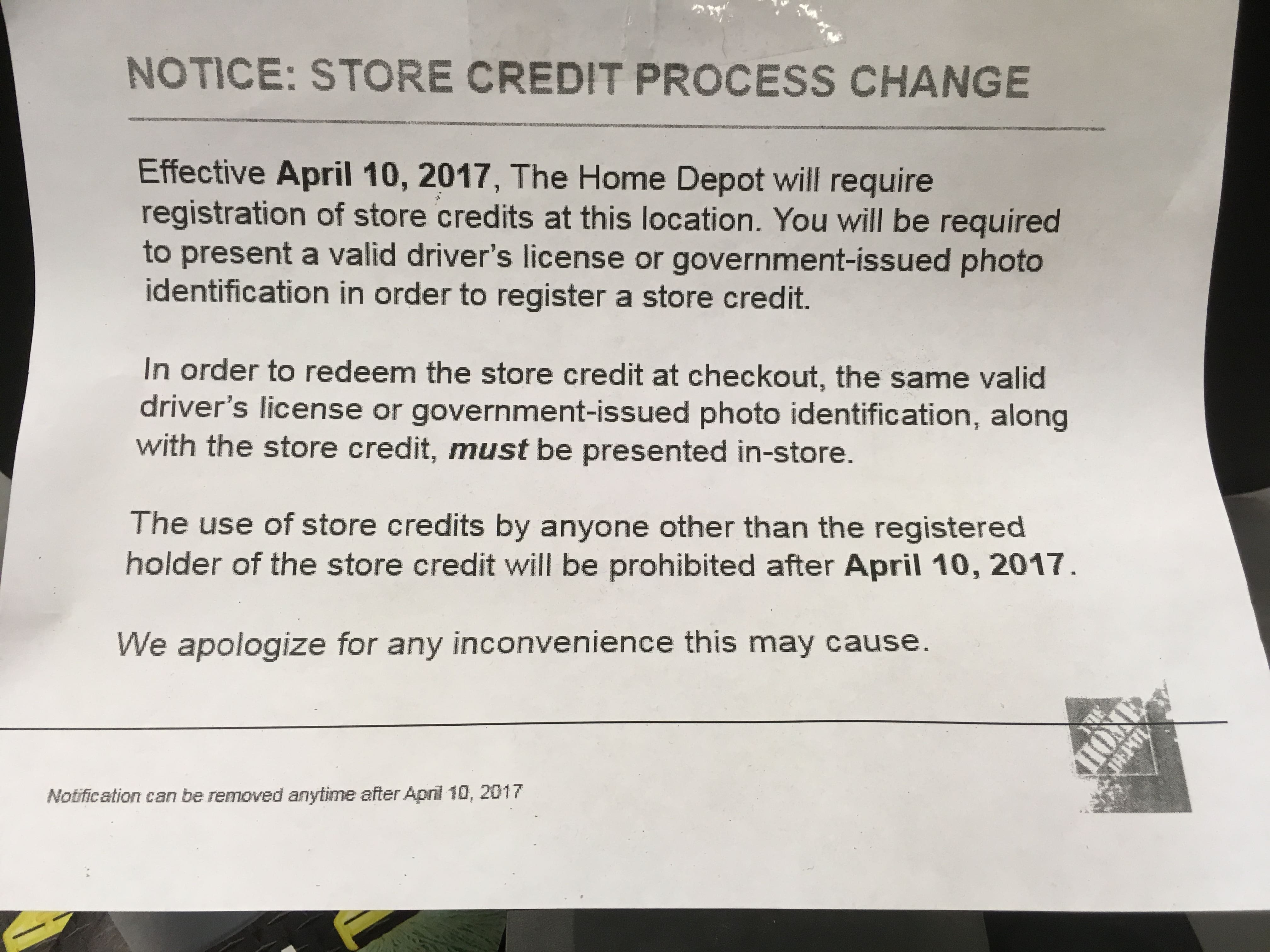 Home Depot Store Credit Policy Change - Slickdeals.net
