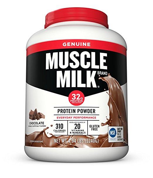 Amazon: Muscle Milk Genuine Protein Powder, Chocolate, 32g Protein, 4.94 Pound $30.10