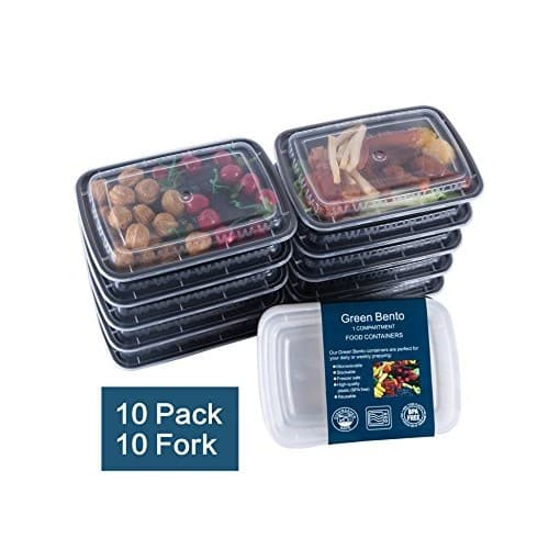 [10 Pack] 3 Compartment Meal Prep Food Storage Containers with Lids/BPA Free Bento Lunch Boxes/Divided Portion Control Container Plates-Microwave, Dishwasher Safe, Free Cutlery $13