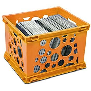 [Case of 3] Storex Mini Crate, 9 x 7.75 x 6 Inches, Neon Orange, For $3.02 (Add-On Item)